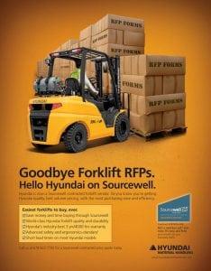 Banner describing new Hyundai Forklift benefits through Sourcewell