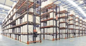 Selective Pallet Racking. Clean, brightly lit, warehouse.